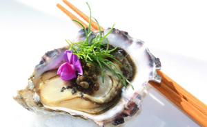 Bean Flower, Petite™ Sea Grass Chef Creeks Oyster from British Colombia, Papaya Caviar, Hawaiian Black Lava Salt