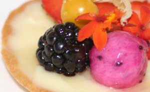 Dragon Fruit, Cape Gooseberry, and Blackberry Tart with MicroFlower™ Micro Orchid™