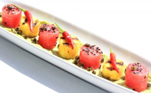 TinyVeggies™ Pepper Marinated Ahi Tuna, Grilled Pineapple, Edamame Avocado Puree, Infused Ginger Oil, Crispy Capers